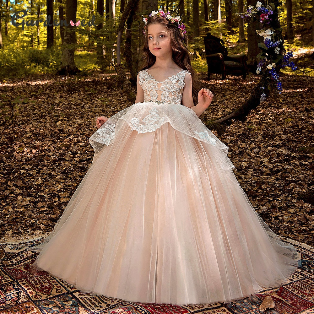 Blush Princess Girl Dress Lace Flower Dresses Puffy Tulle Children 2021 Crystal Belt Gowns
