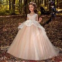 blush princess girl dress lace flower girl dresses puffy tulle children dresses 2021 crystal belt girl gowns