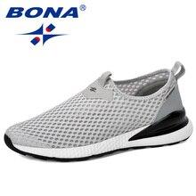 BONA 2019 nouveau concepteur respirant sans lacet hommes maille chaussures mode décontracté anti-dérapant hommes vulcaniser chaussures Tenis Masculino confortable