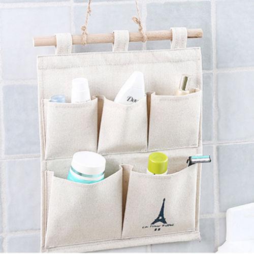 New Fashion 5 Pocket Wall Door Closet Home Hanging Storage Bag Waterproof Organizer Pouch