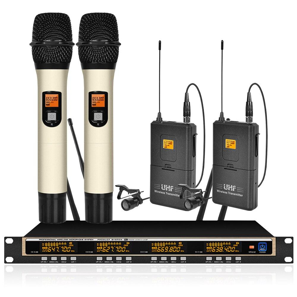 Orban profesional UHF SISTEMA DE MICRÓFONO INALÁMBRICO 2 handheld 2 lavalier MICRÓFONO INALÁMBRICO micrófono de voz de escenario