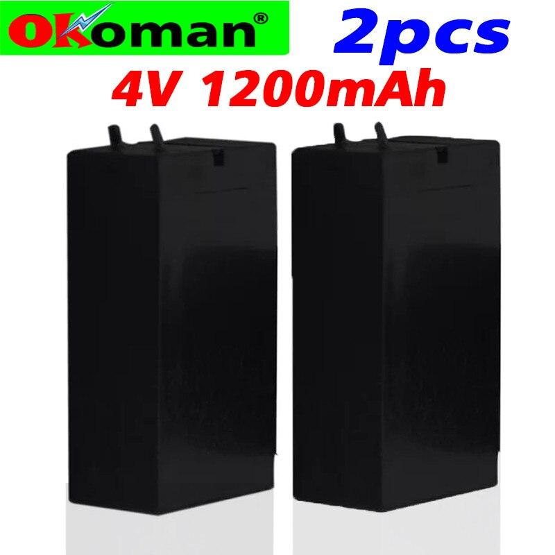 2 uds. 4V plomo ácido 1200mAh batería de almacenamiento baterias de mosquitos lámpara LED faros linterna recargable de alta capacidad