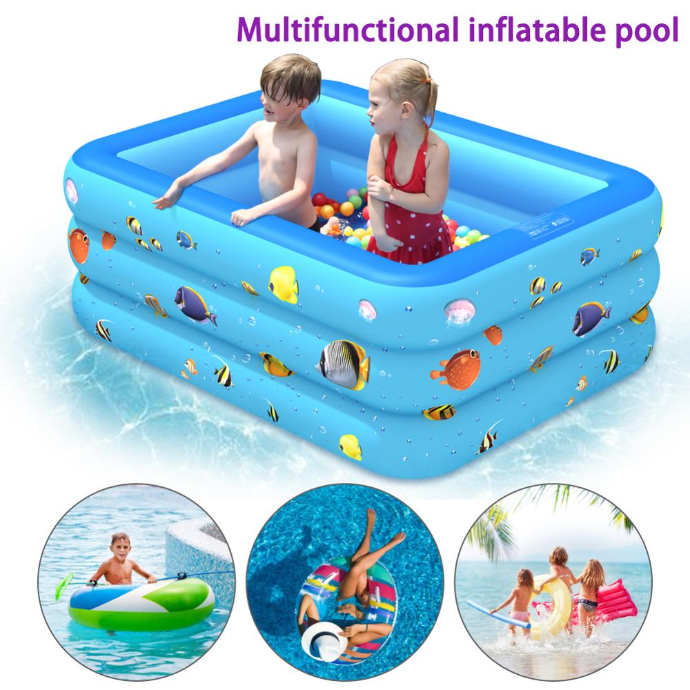 120/130cm Children Bathing Tub Baby Home Use Paddling Pool PVC Inflatable Square Swimming Pool Kids Inflatable Pool Freeshipping