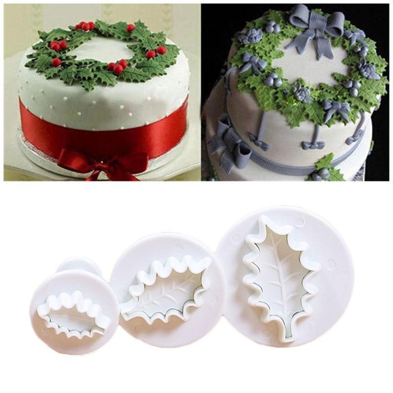 3 unid/set 3D Holly hojas Cookie émbolo molde de Arte de azúcar para Fondant molde decorativo para pasteles herramientas para hornear