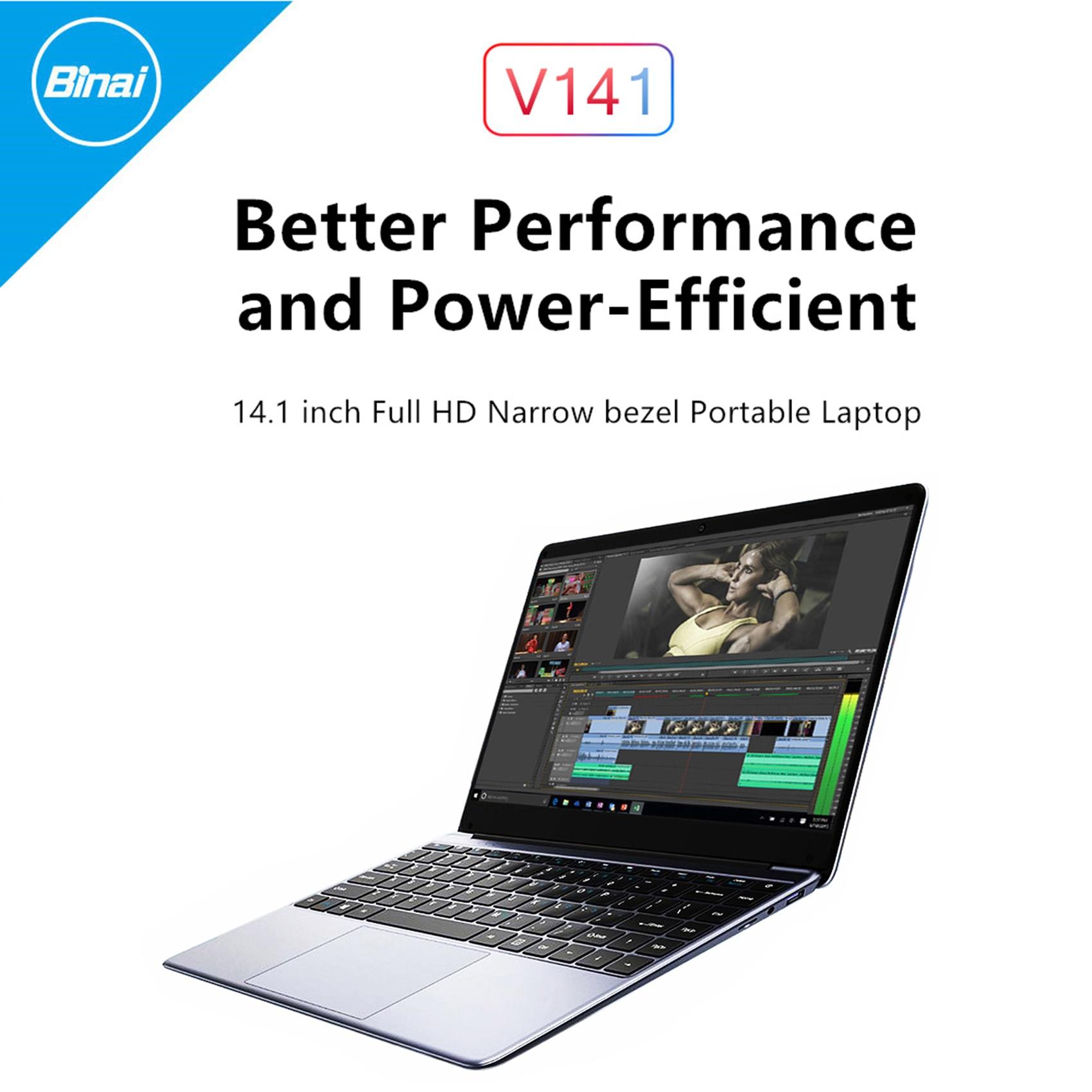 Binai V141 حاسوب محمول 14.1 بوصة J3455 8GB + 128GB 1920x1080 Win10 2.4G/5GHz BT4.2 حاسوب محمول للمكتب