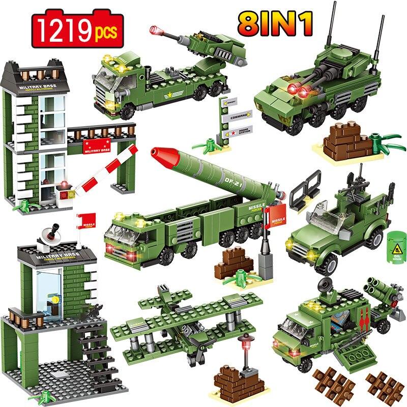 Base militar vehículo misil helicóptero bloques de construcción WW2 ciudad SWAT policía soldado figura ladrillos juguetes para niños chicos