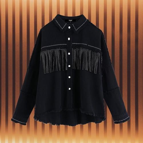 NEW Women Stylish Tassel Beaded Oversized Denim Jacket Coat Vintage Fashion Long Sleeve Frayed Trim Outerwear Chic Loose Tops
