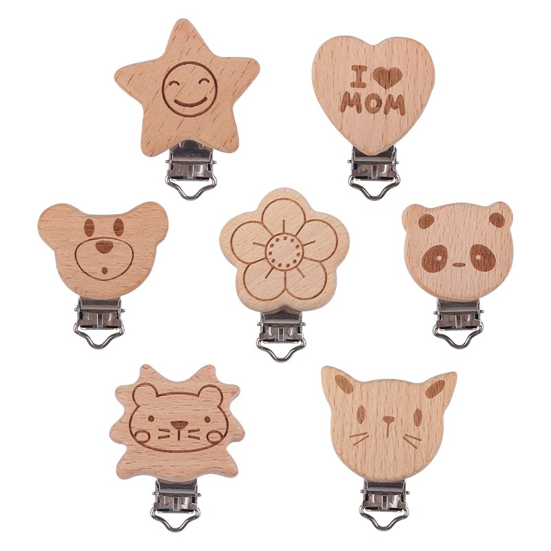 3Pcs Cartoon Animal Shape Beech Pacifier Clip Personalized DIY Pacifier Chain Baby Products