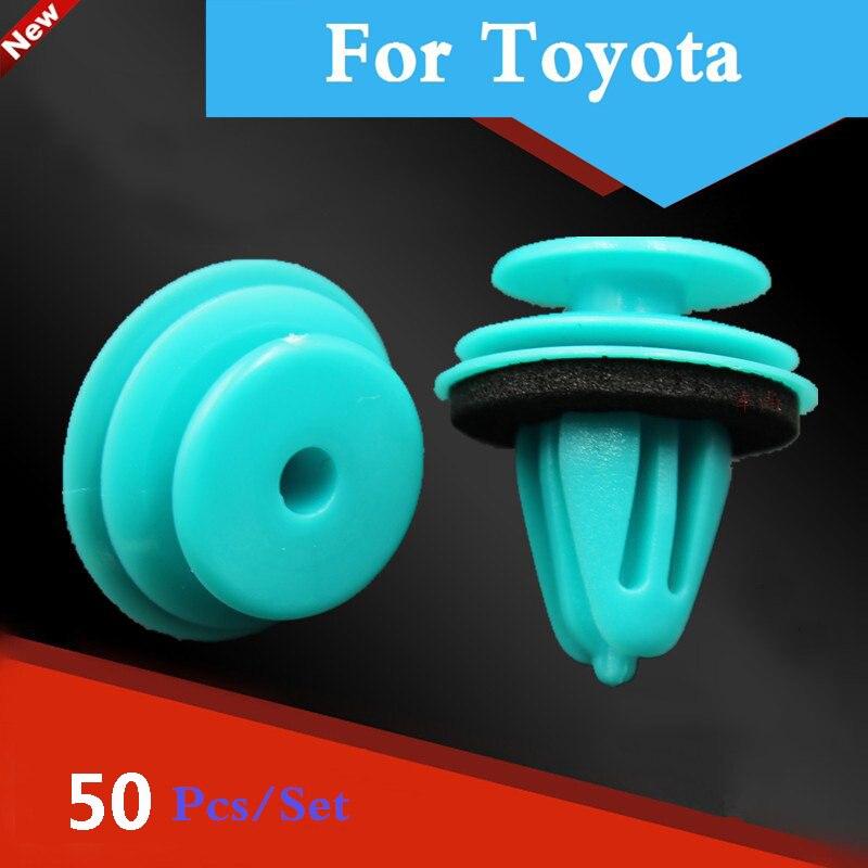 50 Uds remache de plástico retenedor de la puerta del guardabarros del coche Universal para Toyota Kluger Land Cruiser Surf Iq Ist Land Cruiser Prado Hilux