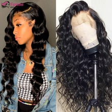 Loose Deep Wave Wigs Lace Front Human Hair Wigs Peruvian Pre Plucked 4x4 Lace Closure Wigs For Black