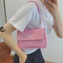 Retro Women's Underarm Bag Patent Leather Ladies Flap Shoulder Bags Simple Female Small Square Bag H