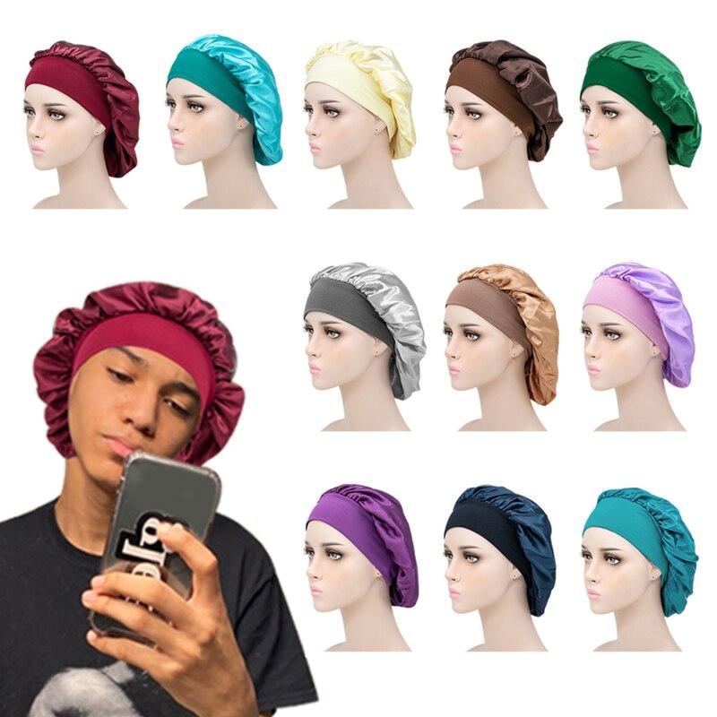 Women Satin Sleep Night Cap  Head Cover Bonnet Wash Hat African Hair Care Turban Headcover Beanie Ba