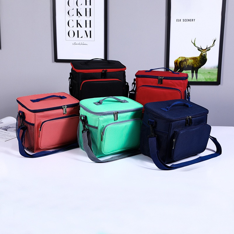 High Capacity Thermal Lunch Bag Oxford Cloth Outdoor Picnic Freshkeeping Tote Insulation Bags Multifunction Shoulder