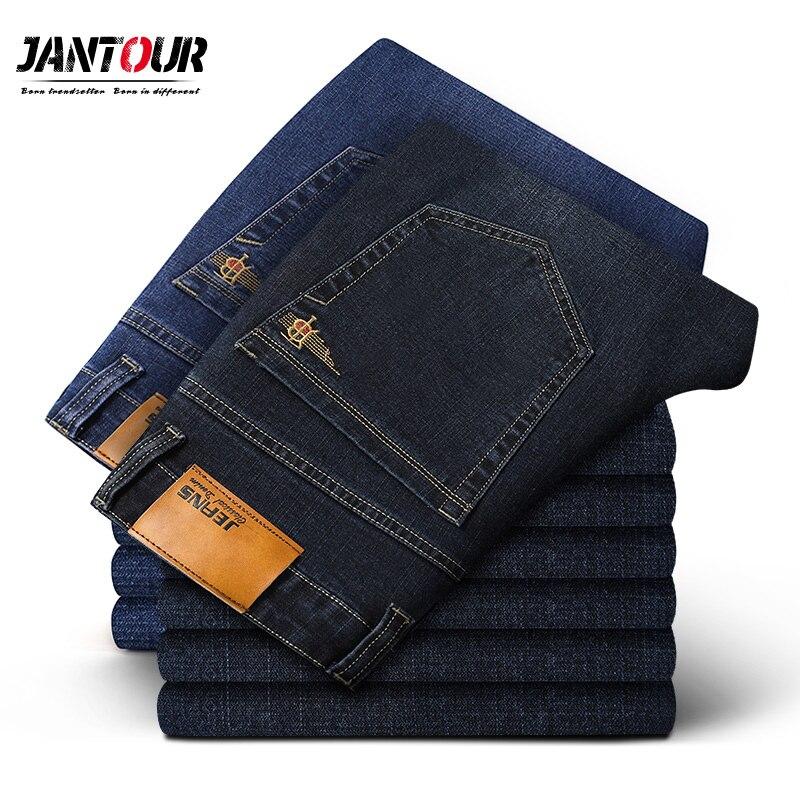 Pantalones vaqueros de algodón elásticos rectos de marca para hombre, pantalones vaqueros de estilo clásico de negocios a la moda para hombre, pantalones vaqueros de talla grande 35 40 42 44 46