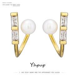 Yhpup novo design geométrico metal parafuso prisioneiro brincos moda imitação de pérolas jóias requintado bling zircônia cúbica brincos presente