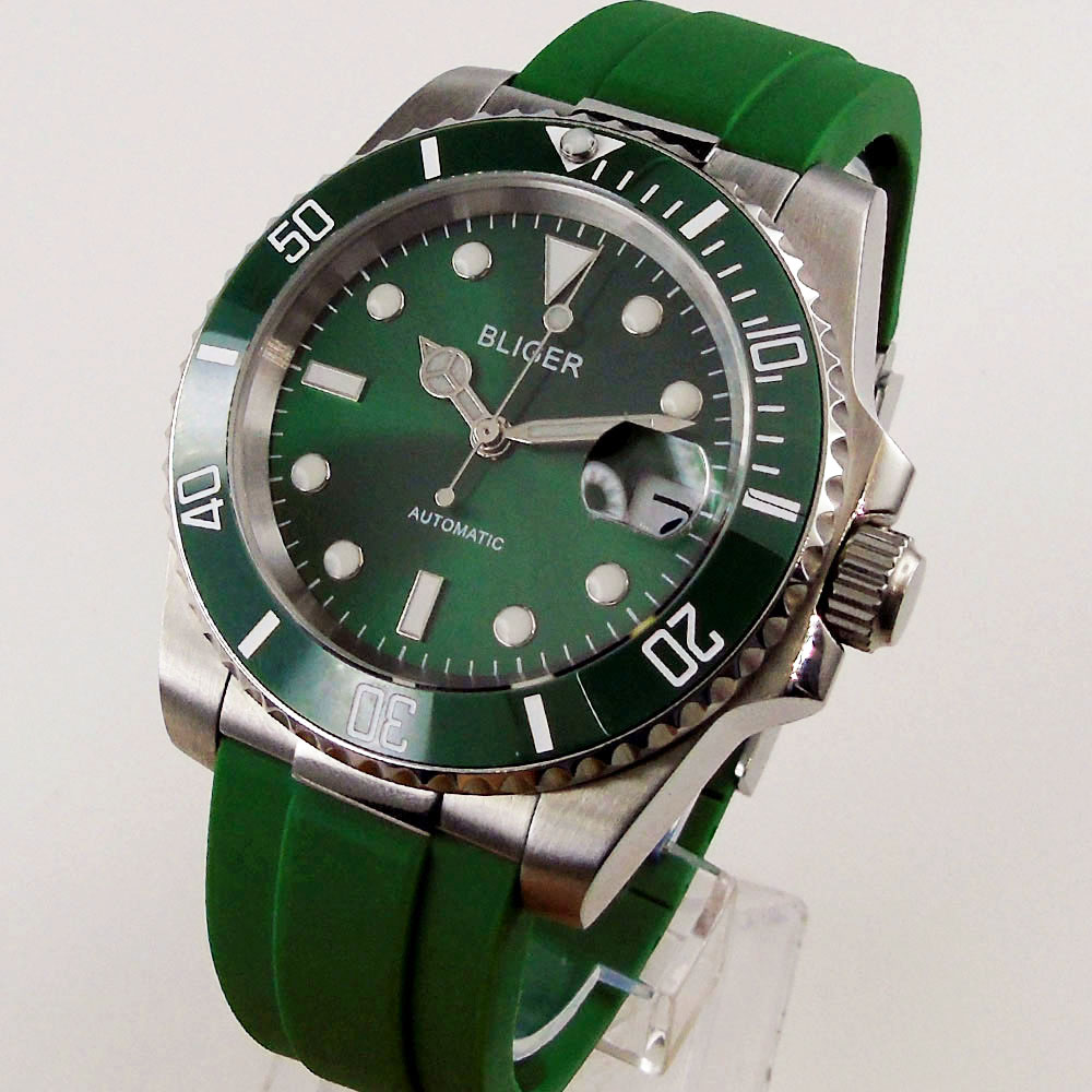 BLIGER-ساعة أوتوماتيكية للرجال ، Green Sunburst ، 24 جوهرة NH35A ، علبة فولاذية ، قرص مضيء ، أحادية الاتجاه ، شريط مطاطي