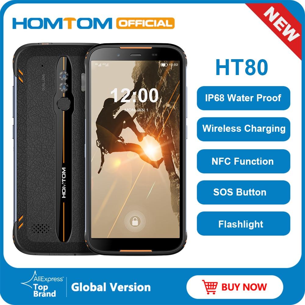 HOMTOM HT80 IP68 водонепроницаемый смартфон 4G LTE Android 10 5,5 дюймов 189 HD + MT6737 четырехъядерный NFC Беспроводной заряд SOS мобильный телефон