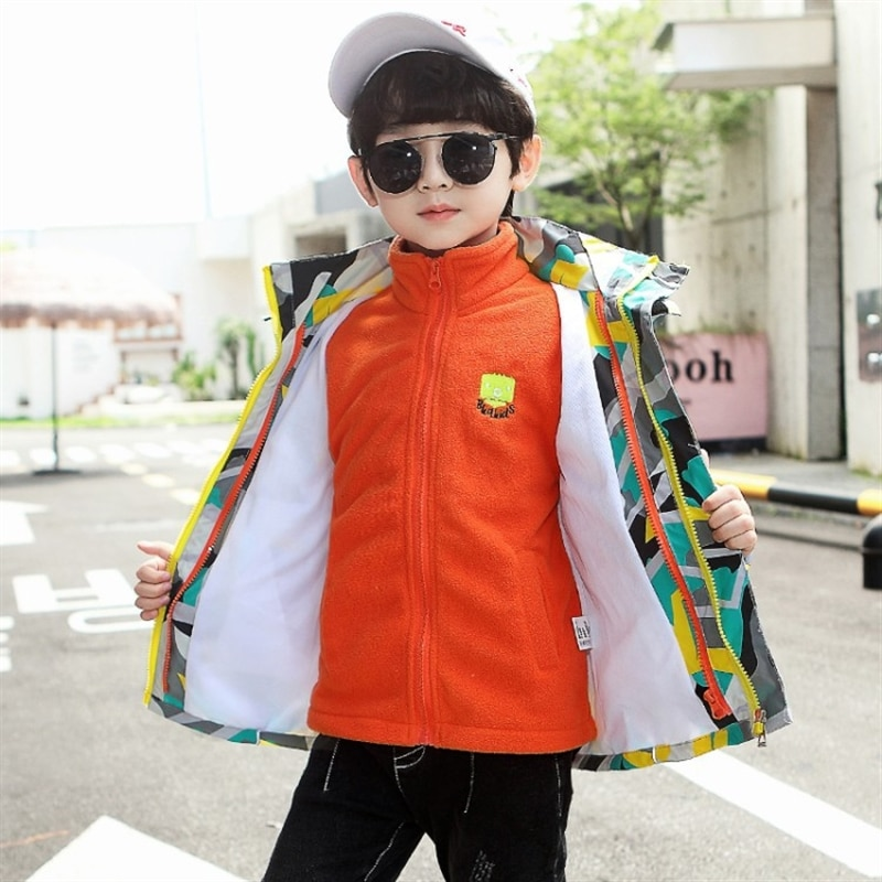 Children's three-in-one camouflage jacket boys' fall winter coat middle and big children 2020 new boys' removable windbreaker enlarge