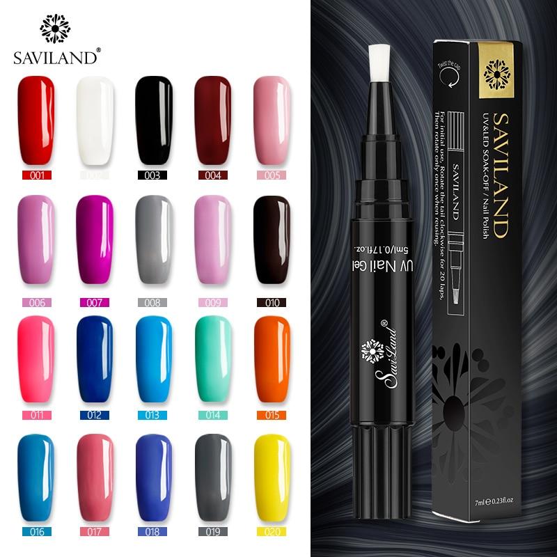 Saviland Gel de uñas 3 en 1 pluma de uñas UV lápiz esmalte de uñas de Gel de un paso No necesita Base superior abrigo brillante nuevo diseño de uñas