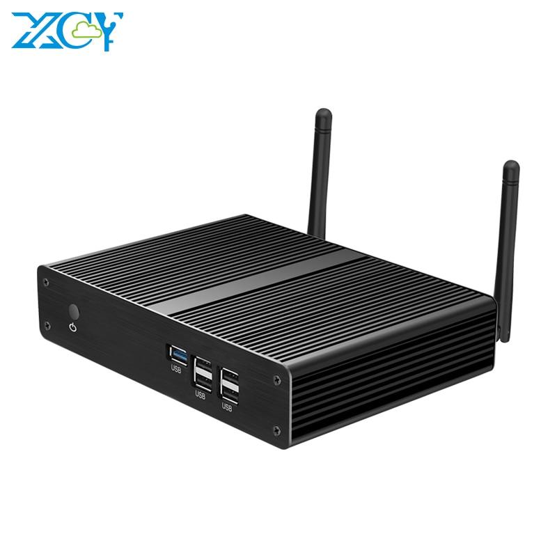 XCY X34 Fanless Mini PC Intel Pentium N3510 Quad Cores Windows 10 HDMI VGA Gigabit Ethernet 300Mbps WiFi 5*USB Nettop HTPC
