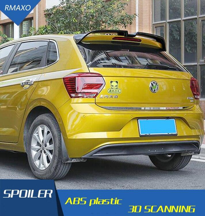 For VW Polo Spoiler ABS Material Car Rear Wing Primer Color 2019-2021 VW polo Rear Spoiler For Volkswagen new Polo Spoiler