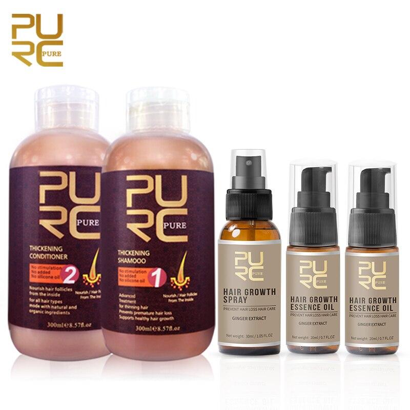 PURC الشعر الشامبو والبلسم للشعر نمو منع فقدان الشعر و 2 قطعة النمو جوهر النفط و 1 قطعة نمو الشعر رذاذ