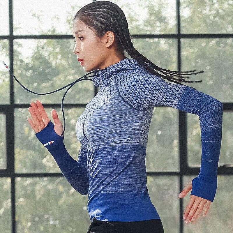 2019 cremallera de manga larga camisa de Yoga sin costuras deportes prendas de vestir exteriores chica Jerseys deportivos mujeres chaquetas para Fitness Running chaqueta Tops