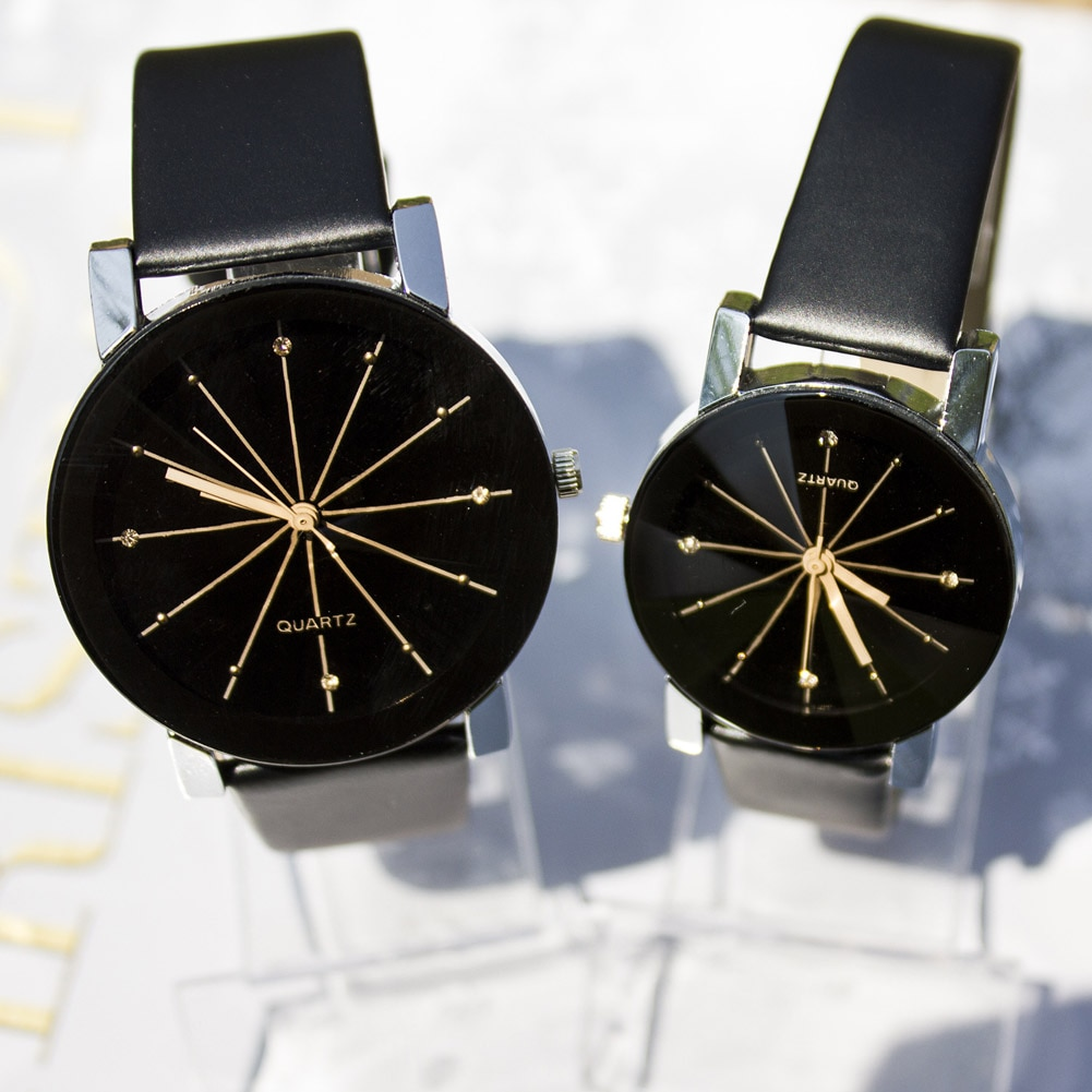 Men/Women's Simple Casual Style PU Leather Watchband Round Dial Couples Watch Wrist Watch XRQ88