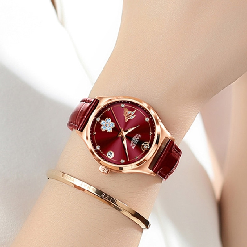 KASSAW Watches for Women Leather Mechanical Watch Automatic Wristwatch Waterproof Simple Gift for Women enlarge