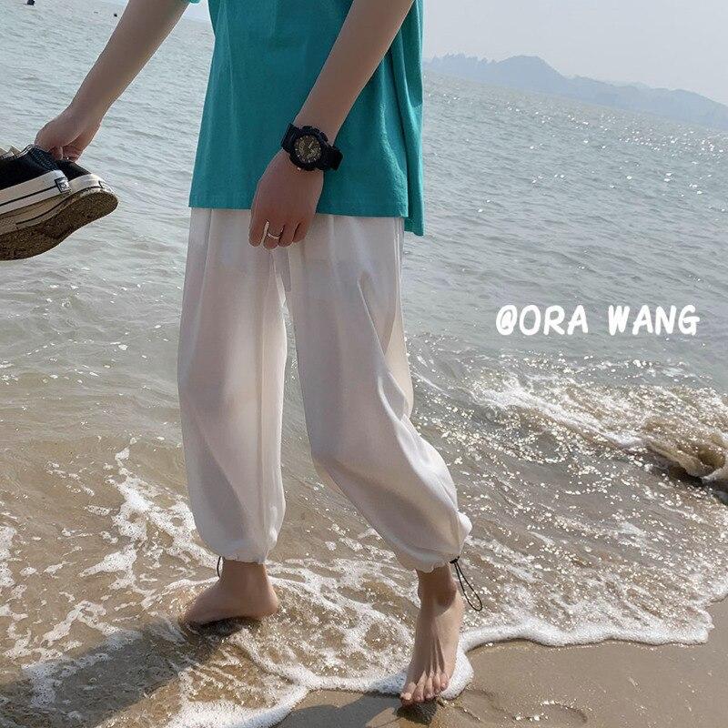 Быстросохнущие шелковые брюки, мужские Модные повседневные брюки в Корейском стиле, мужские тонкие брюки на завязках, мужские прямые брюки,...