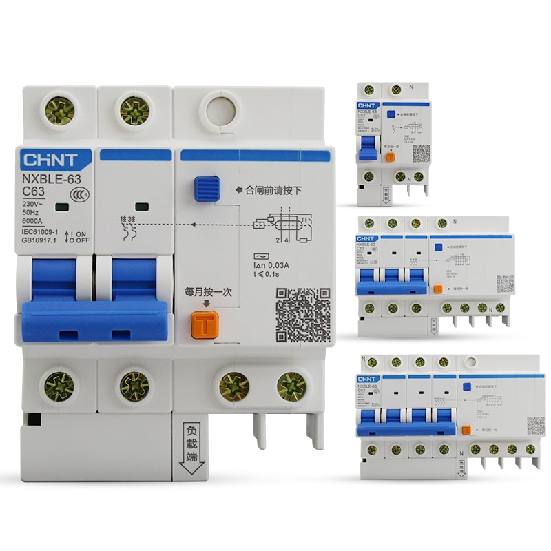 Disjoncteur de protection contre les fuites   Disjoncteur à courant résiduel chinois CHNT RCBO DZ47LE NXBLE
