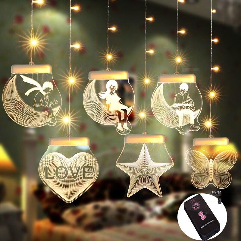 Moon Star LED Fairy Light Windows Creative Bulb Light Romantic Wedding Christmas Gift Lights Holiday Decoration Indoors Lights