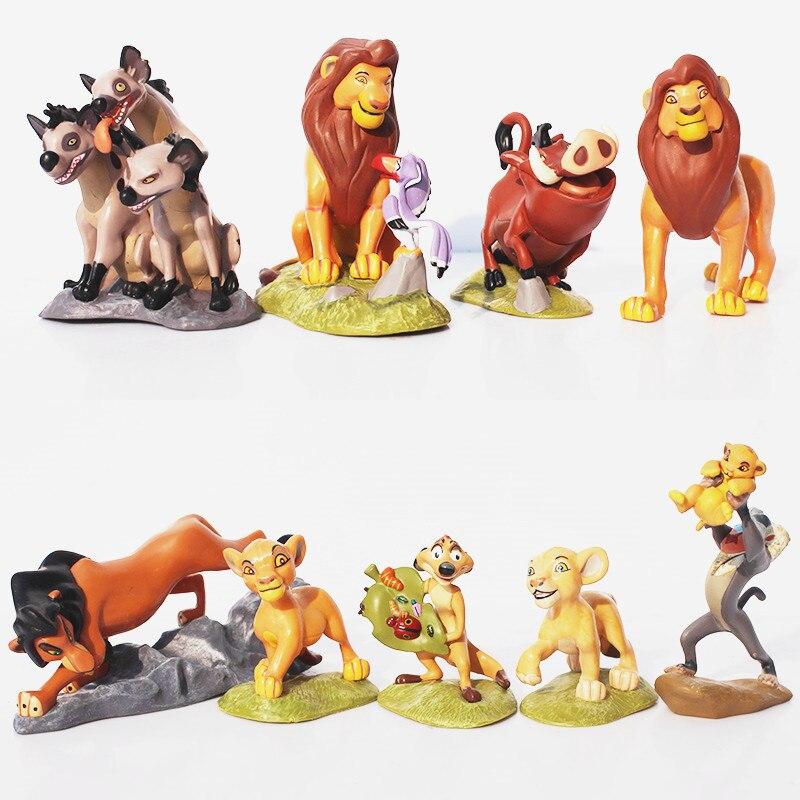 8/9/12 uds/set, el león Simba Nala timón de dibujos animados rey película Medol Anime figura de acción de PVC juguetes regalo de cumpleaños