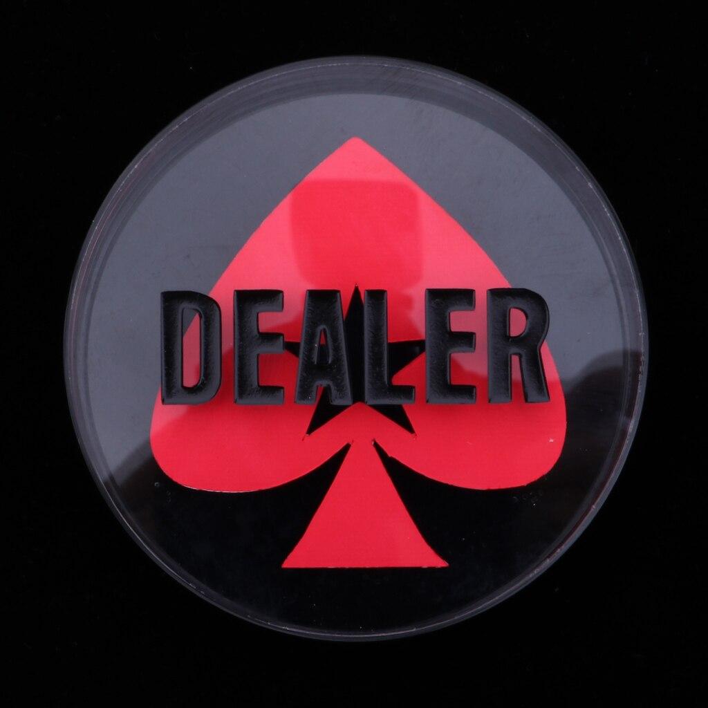 Cristal de crupier póquer botones transparente negro con palabras Corazón patrón
