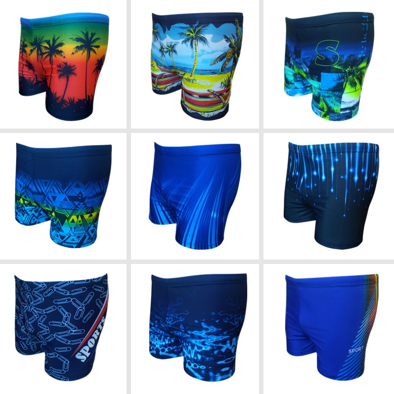 2019 New Style Swimming Trunks Men's Fashion Large Size Printed Boxer Slim Fit with Lace-up High Elastic Loose-Fit Sports Swimmi