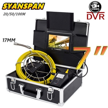 SYANSPAN 7inch Monitor 20/50/100M Pipe Inspection Video Camera,17mm 8GB SD Card DVR Drain Sewer Pipe Industrial Endoscope Camera