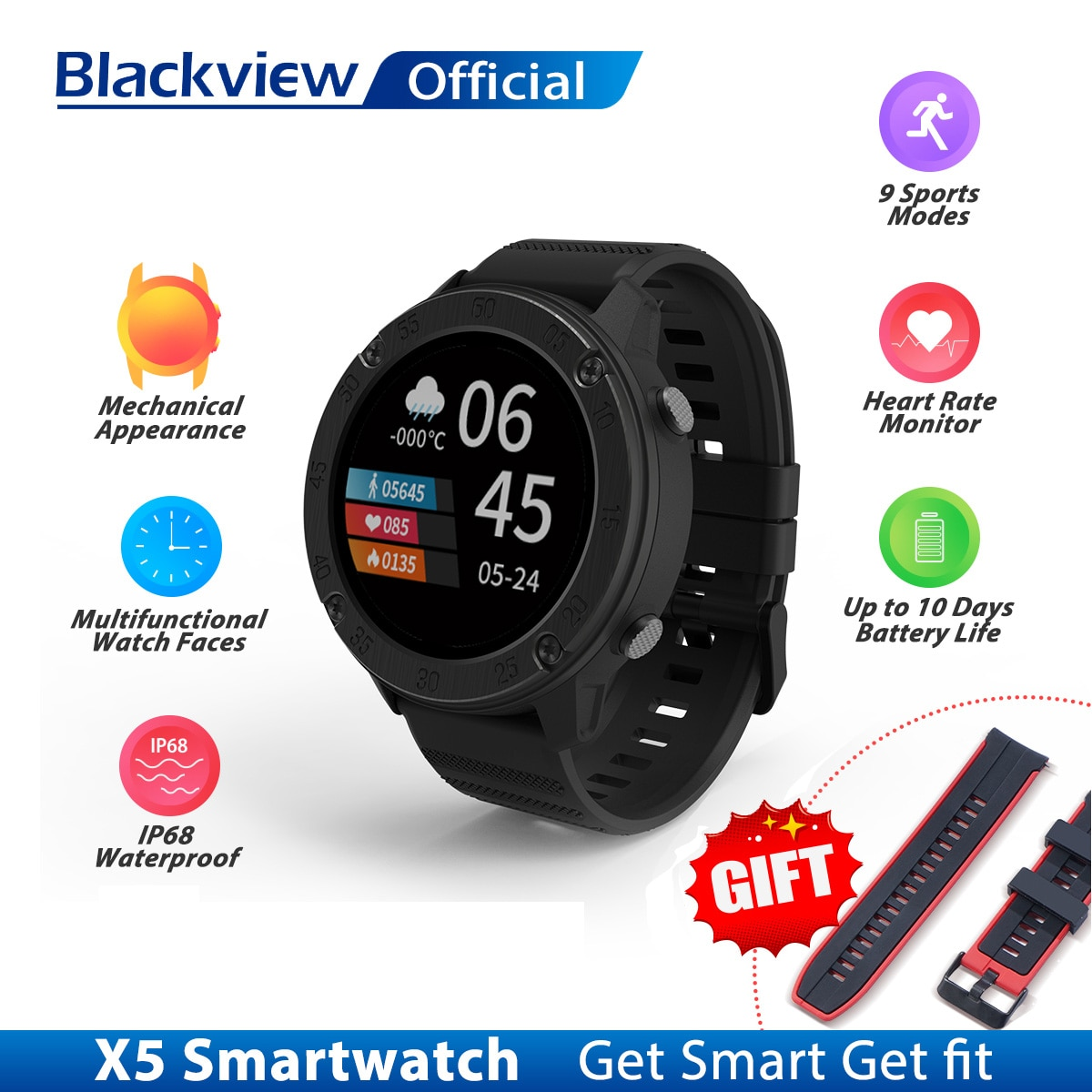 Blackview IP68 SmartWatch X5 الرجال النساء ساعة رياضية ساعة النوم رصد جهاز تعقب للياقة البدنية معدل ضربات القلب ساعة ذكية ل IOS أندرويد