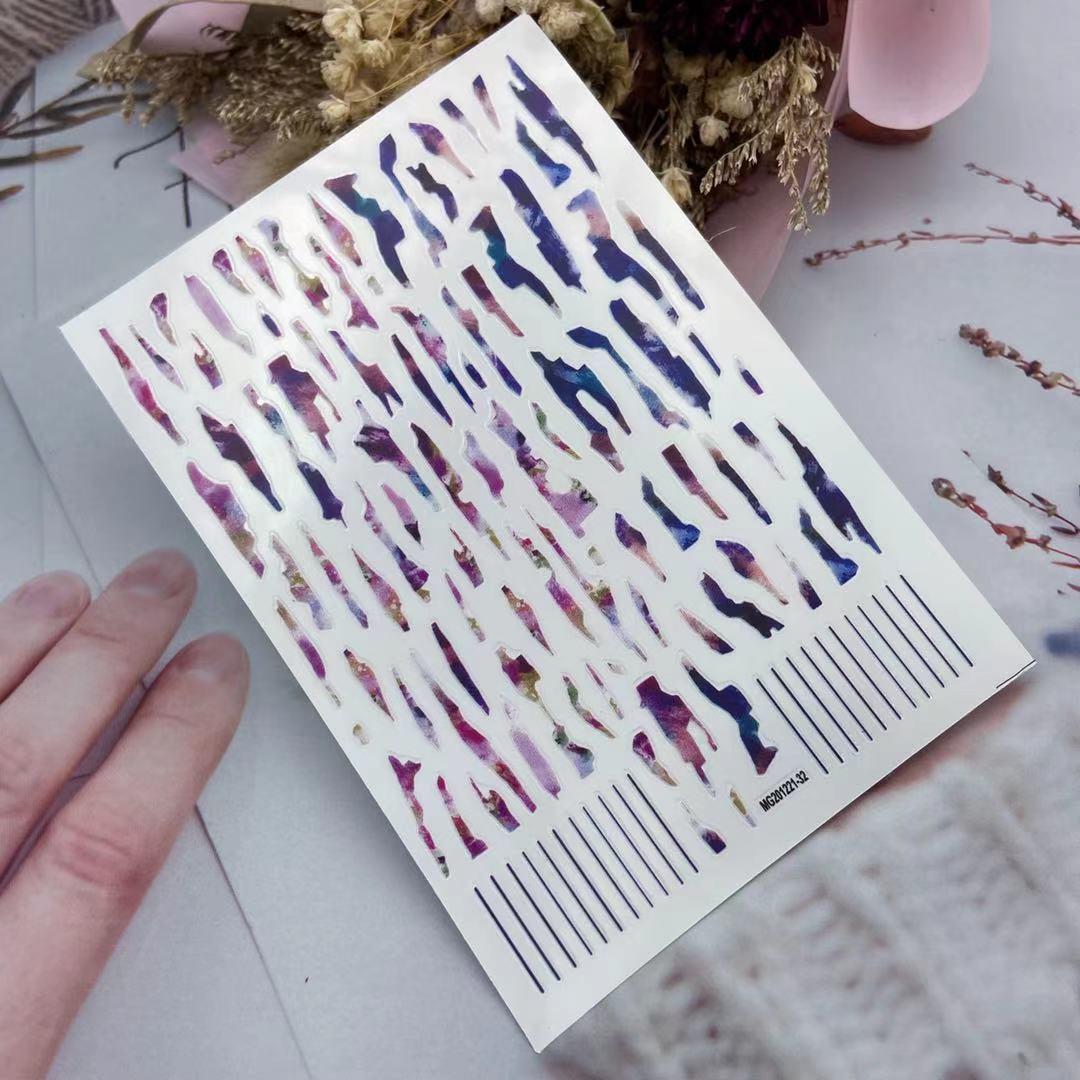 3D Nail Sticker Irregular Color Bar Design DIY Skills Nail Art Decoration Packaging Self-adhesive Transfer Decal Slider