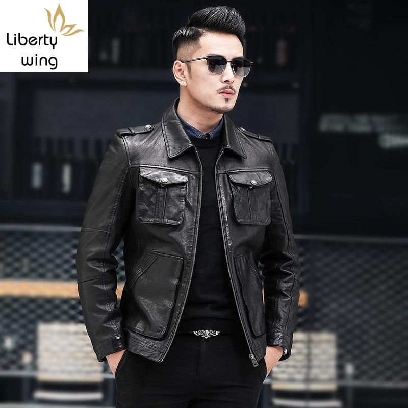 Autumn New Brand Sheepskin Moto Biker Thin Short Coats Top Quality Genuine Leather Pockets Zip Slim Fit Mens Jackets Plus Size