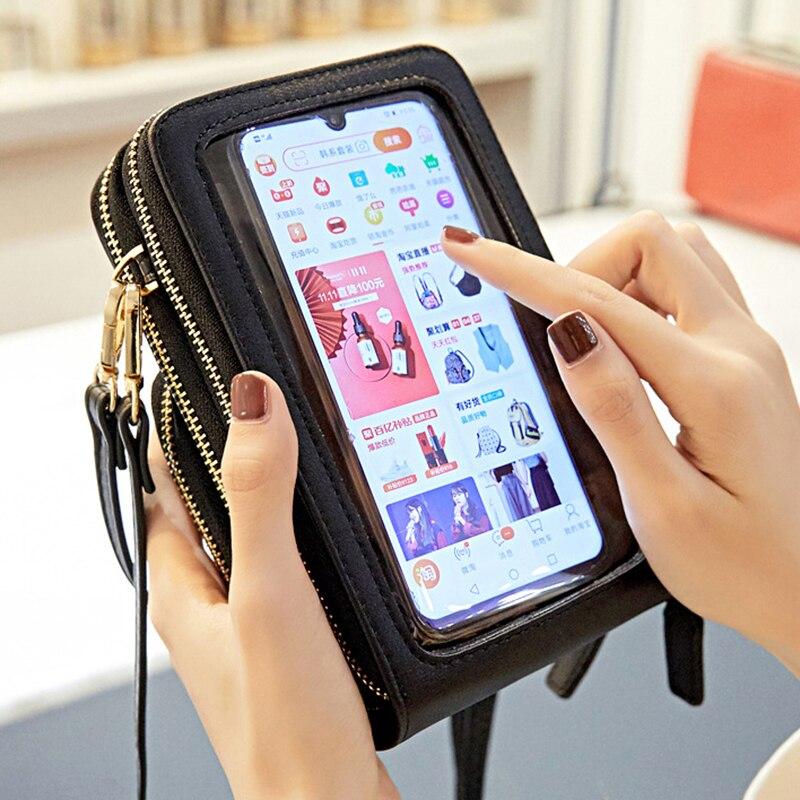 Touchable Cell Phone Shoulder Bags Women Multi-functional Pocket Mini Crossbody Bag Card Purse Ladies Small Female Messenger Bag