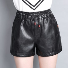 Haute qualité 2019 nouveau femmes hiver en cuir synthétique noir Shorts taille élastique femme célébrité ample mode femmes Shorts décontractés