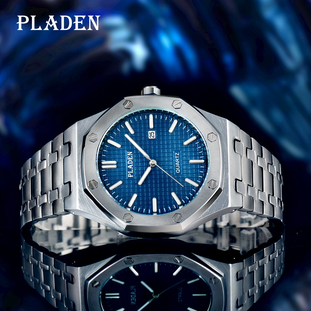 PLADEN Luxury Quartz Men Watch Waterproof Shockproof Stainless Steel Business Diver Luminous Ome Maj