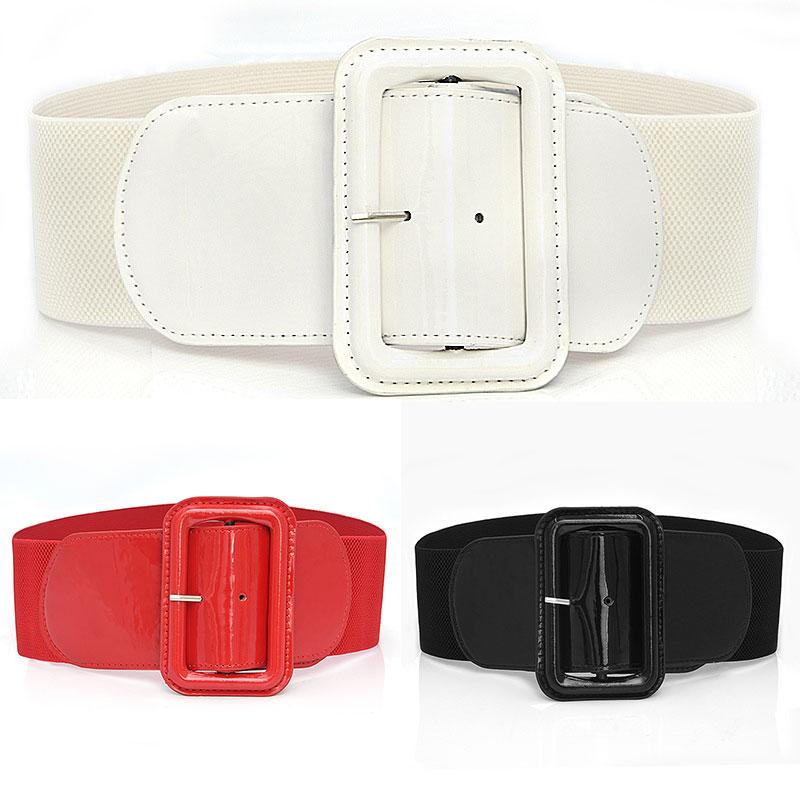 Fashion Leather Big Buckle Waist Corset Belt Wide Elastic Cummerbunds Women Belt Girdle Elegant Slim