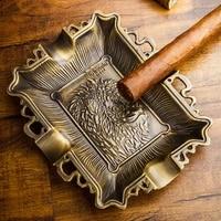 lubinski creative pure copper cigar cigarette ashtray 4 cigars holder travel tobacco embossment ash tray for cohiba new arrival