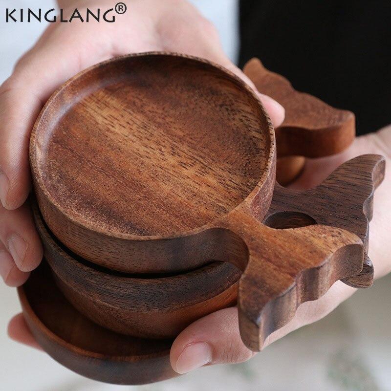Plato de madera de Acacia de pescado japonés KINGLANG, plato creativo de salsa de dibujos animados, plato de madera para aperitivos, vajilla Retro pintada a mano