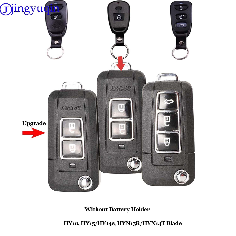 Jingyuqin 10ps modificado caso chave do carro para hyundai elantra sonata santa para kia carens 1 2 + 1 2 3 1 botões caso chave do escudo fob