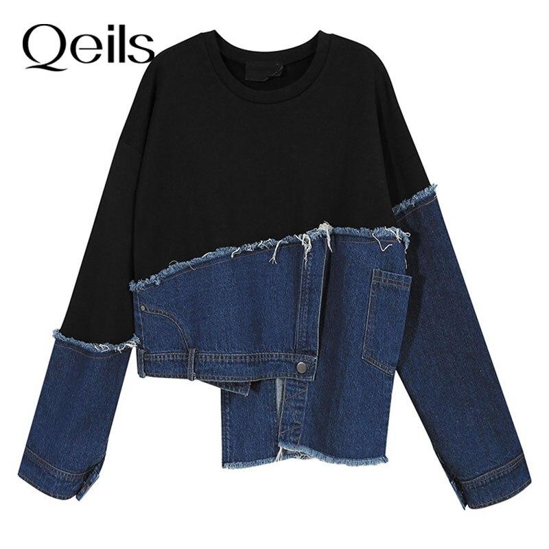 Qeils Spring Autumn 2021 Loose Fit Black Denim Irrgular Sweatshirt New Round Neck Long Sleeve Women