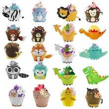 Lion Monkey Cake Topper Animal Cupcake Wrappers Forest Friend Owl Fox Bear Alpaca Cupcake Jungle Party Kids Birthday Party Decor
