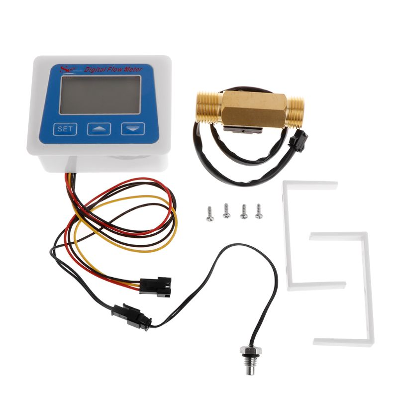 Registro de tempo da temperatura do medidor de fluxo da água do medidor de fluxo de digitas com sensor de fluxo g1/2