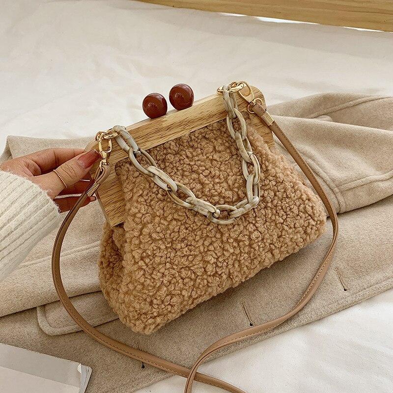 Bolso de hombro para mujer, de lujo, a la moda, caja de cubo 2020, con broche de madera, cadena acrílica de noche, bolso de mano para fiesta y banquete para mujer